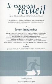 Le nouveau recueil t.85 ; lettres imaginaires - Intérieur - Format classique