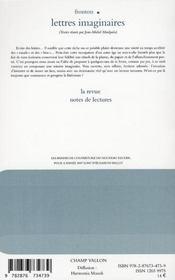 Le nouveau recueil t.85 ; lettres imaginaires - 4ème de couverture - Format classique