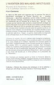 L'Invention Des Maladies Infectieuses ; Naissance De La Bacteriologie Clinique Et De La Pathologie Infectieuse En France - 4ème de couverture - Format classique