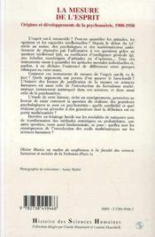 La Mesure De L'Esprit ; Origines Et Developpements De La Psychometrie, 1900-1950 - 4ème de couverture - Format classique