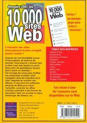 Annuaire 2003 Des 10000 Sites Web - 4ème de couverture - Format classique