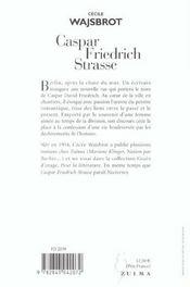 Caspar-Friedrich-Strasse - 4ème de couverture - Format classique