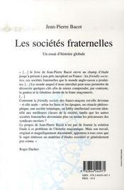 Les Societes Fraternelles ; Un Essai D'Histoire Globale - 4ème de couverture - Format classique