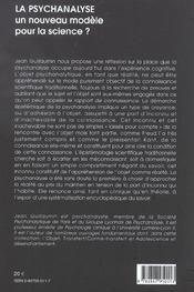 La Psychanalyse Un Nouveau Modele Pour La Science - 4ème de couverture - Format classique