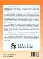 Entreprise unipersonnelle a responsabilite limitee eurl, exploitation a responsabilite limitee earl. - 4ème de couverture - Format classique
