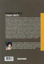 Eugène le roy, 1836-1907 ; icare au pays des croquants - 4ème de couverture - Format classique