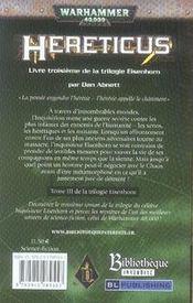 Hereticus - 4ème de couverture - Format classique