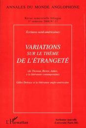 Variations sur le thème de l'étrangeté ; de Thoreau Bierce James à la littérature contemporaine - Intérieur - Format classique