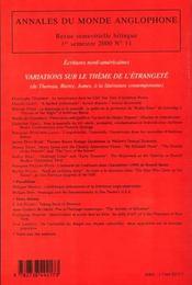 Variations sur le thème de l'étrangeté ; de Thoreau Bierce James à la littérature contemporaine - 4ème de couverture - Format classique