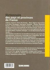 Dictionnaire des pays et provinces de France - 4ème de couverture - Format classique