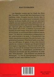 Rites et symboles de la franc-maconnerie / hauts grades t2 - 4ème de couverture - Format classique