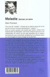 Maladie ; Donner Un Sens - 4ème de couverture - Format classique
