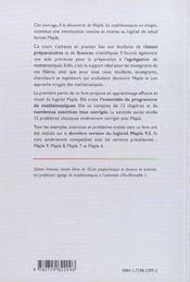 A La Decouverte De Maple, Les Mathematiques En Images - 4ème de couverture - Format classique
