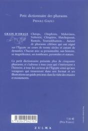 Petit dictionnaire des pharaons - 4ème de couverture - Format classique