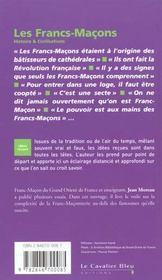 Les francs-maçons - 4ème de couverture - Format classique