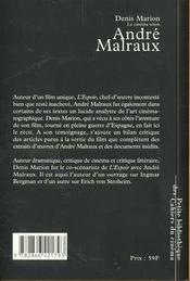 Le cinéma selon André Malraux - 4ème de couverture - Format classique