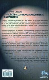 Secrets De La Franc-Maconnerie Egyptienne - 4ème de couverture - Format classique