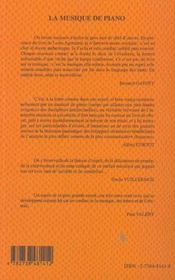 La Musique De Piano, Des Origines A Ravel - 4ème de couverture - Format classique