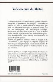 Vade mecum du Maître - 4ème de couverture - Format classique