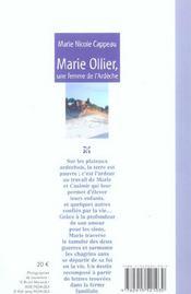 Marie Ollier Une Femme De L Ardeche - 4ème de couverture - Format classique