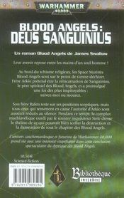 Blood angels ; deus sanguinius - 4ème de couverture - Format classique