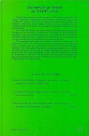 Europeens En Orient Au Xviii Siecle - 4ème de couverture - Format classique