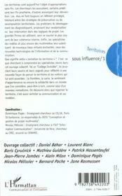 Territoires Sous Influence T.1 - 4ème de couverture - Format classique