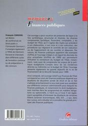 Finances Publiques 1999 - 4ème de couverture - Format classique
