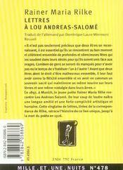 Lettres A Lou-Andreas Salome - 4ème de couverture - Format classique