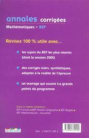 Annales corrigees t.23 ; mathematiques bep tertiaire - 4ème de couverture - Format classique