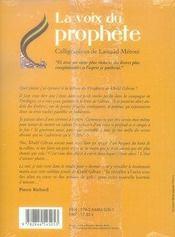 La voix du prophète - 4ème de couverture - Format classique