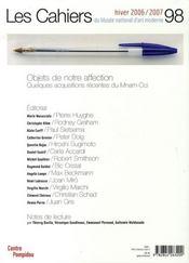 Cahiers Du Musee National D'Art Moderne N.98 ; Objets De Notre Affection - 4ème de couverture - Format classique