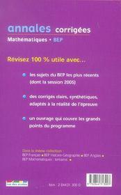 Annales corrigees t.24 ; mathematiques bep industriel - 4ème de couverture - Format classique