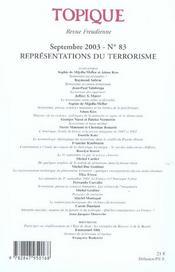Representations Du Terrorisme N 83 2003 - 4ème de couverture - Format classique