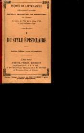 Lecons De Litterature Specialement Redigees Pour Les Pensionnats De Demoiselles. 1- Du Style Epistolaire. - Couverture - Format classique