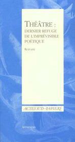Apprendre N 12 - Theatre : Dernier Refuge De L'Impevisible - Intérieur - Format classique