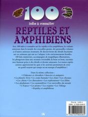100 Infos A Connaitre ; Reptiles Et Amphibiens - 4ème de couverture - Format classique