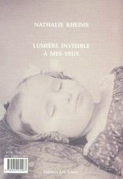 Lumiere Invisible A Mes Yeux - 4ème de couverture - Format classique
