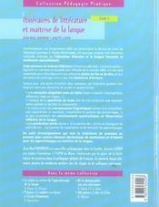 Itinéraires de littérature et maîtrise de la langue ; cycle 3 - 4ème de couverture - Format classique