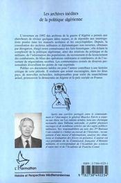 Les Archives Inedites De La Politique Algerienne 1958-1962 - 4ème de couverture - Format classique