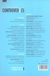 Revue D'Idees Controverses N.2 ; La Politique Des Memoires En France - 4ème de couverture - Format classique
