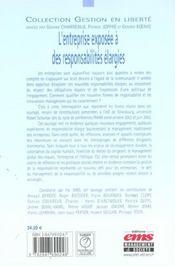 L'Entreprise Exposee A Des Responsabilites Elargies - 4ème de couverture - Format classique
