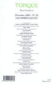 Revue Topique T.85 (édition 2003) - 4ème de couverture - Format classique