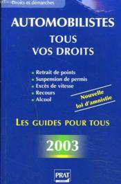 Les Infractions Au Code De La Route ; Edition 2003 - Couverture - Format classique