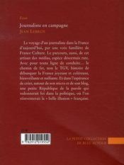 Journaliste en campagne - 4ème de couverture - Format classique