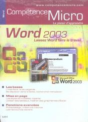 Vente livre :  Competence Micro ; Word 2003  - Collectif