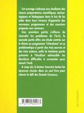 L'Epreuve De Francais Prepas Scientifiques 2000-2002 L'Heroisme Homere Shakespeare Stendhal - 4ème de couverture - Format classique