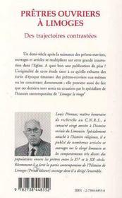 Pretres Ouvriers A Limoges : Des Trajectoires Contrastees - 4ème de couverture - Format classique
