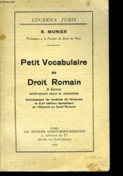 PETIT VOCABULAIRE DE DROIT ROMAIN. 3e EDITION. - Couverture - Format classique