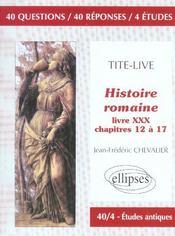 Tite-Live Histoire Romaine Livre Xxx Chapitres 12 A 17 - Intérieur - Format classique